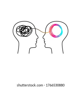 Training icon, symbol of coaching, psychological support, therapy logo. Two abstract profiles with tangled and untangled tangles