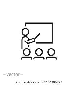 Training icon, workshop linear sign isolated on white background - editable vector illustration eps10