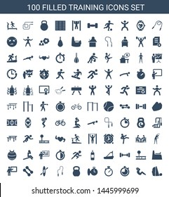 training icons. Trendy 100 training icons. Contain icons such as treadmill, abdoninal workout, stopwatch, kettle bell, skipping rope, rowing. training icon for web and mobile.