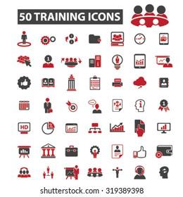training, lessons icons