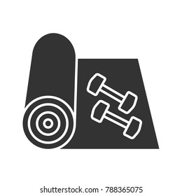 Training mat with dumbbells glyph icon. Silhouette symbol. Yoga carpet. Fitness equipment. Negative space. Vector isolated illustration