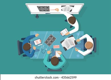Training medical, education. Lecture to trainees doctors, conference. Discussions team of medical investigations. Training doctors. Mentor at blackboard. Vector illustration flat design.