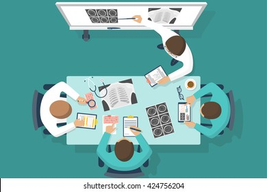 Training medical, education. Vector flat. Lecture to trainees doctors. Discussions team of medical investigations. Training doctors, conference. Mentor at blackboard.