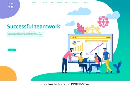 Training of office staff.  Team thinking and brainstorming. Analytics of company information.Vector illustration.