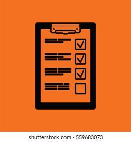 Training plan tablet icon. Orange background with black. Vector illustration.