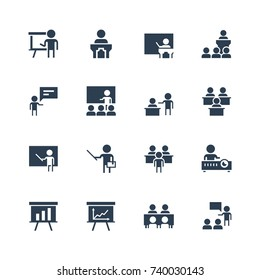 Training, presentation icon set in glyph style