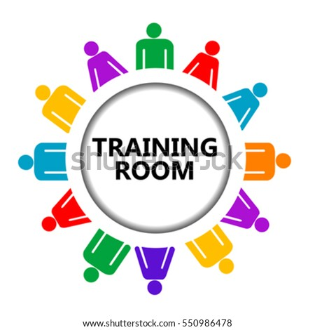training room sign group people on stock vector royalty free
