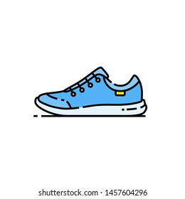 Training shoes line icon. Blue sports running footwear symbol. Gym fitness trainers sign. Vector illustration.