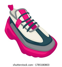 Training shoes for women, sportive clothes for ladies. Isolated icon of sneakers on platform, footwear for athletes, sportive people. Clothing for jogging and fitness, fashion vector in flat style
