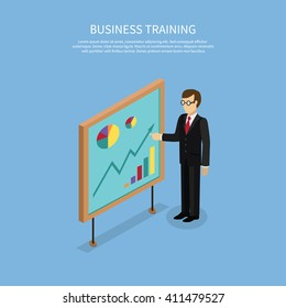 Training staff briefing presentation. Staff meeting, staffing and corporate business training, employee training, mentor business seminar meeting vector. Isometric Man near board with carts and graphs