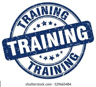 training. stamp. blue round grunge vintage training sign