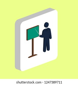Training Teacher Simple vector icon. Illustration symbol design template for web mobile UI element. Perfect color isometric pictogram on 3d white square Training Teacher icons for you business project