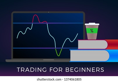 Training trading for beginners in financial stock markets, forex or cryptocurrencies concept. A laptop with trade rsi indicator on the screen and two learning books in the foreground.