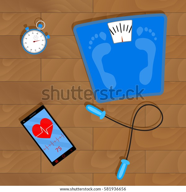 Training for Weight Loss. Work on training. Vector illustration
