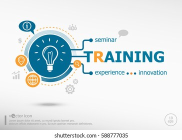Training word cloud and marketing concept on target icon background. Flat illustration. Infographic business for graphic or web design layout