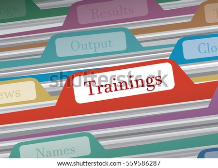Trainings folder in file folders personal finance, vector illustration