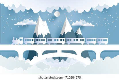 trains and beautiful scenery with the design of paper and craft art. vector illustration beautiful scenery above the clouds
