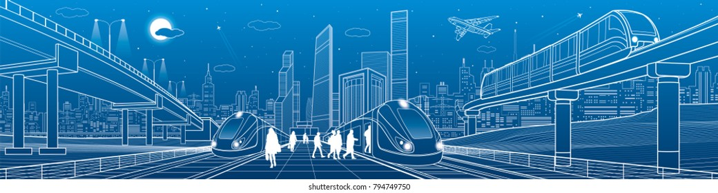 Trains ride on railroad. Passengers at station. Transport overpass. Monorail move. Urban infrastructure, modern city on background, industrial architecture. White lines, town scene, vector design art