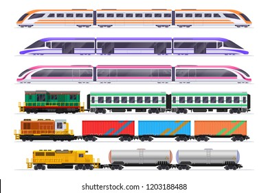 Trains set. Passenger and freight train with wagons. Vector railway transportation isolated on white background. Railway transport passenge and cargo freight, electricity type illustration