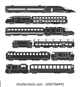 Trains and wagons black vector railway cargo and passenger transportation silhouettes. Train transport black silhouette, locomotive passenger illustration