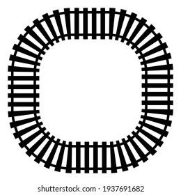 Traintrack, railroad, railway contour, silhouette vector illustration
