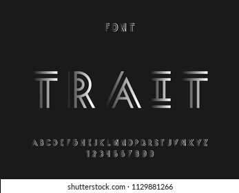 Trait font. Vector alphabet letters and numbers. Typeface design.
