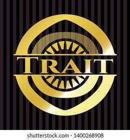 Trait gold emblem or badge. Vector Illustration. Detailed.