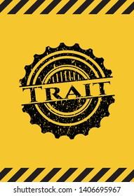 Trait inside warning sign, black grunge emblem. Vector Illustration. Detailed.