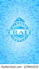 Trait light blue emblem. Mosaic background
