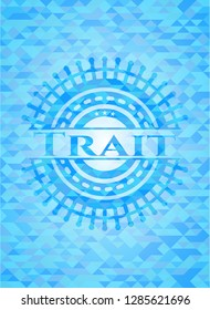 Trait light blue mosaic emblem