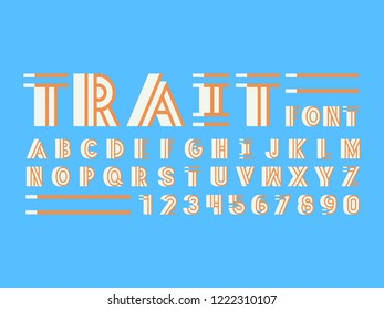 Trait shadow font. Vector alphabet letters and numbers. Typeface design.