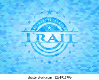 Trait sky blue emblem with mosaic ecological style background