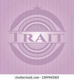 Trait vintage pink emblem. Vector Illustration. Detailed.