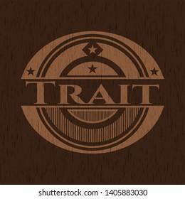 Trait wood emblem. Vector Illustration.