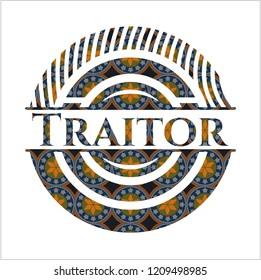Traitor arabesque style badge. arabic decoration.