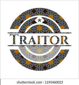 Traitor arabic badge background. Arabesque decoration.