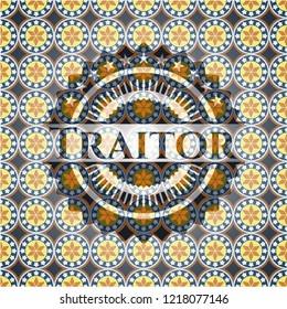 Traitor arabic style badge. Arabesque decoration.