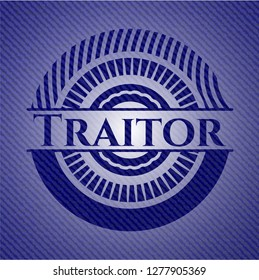 Traitor badge with denim texture