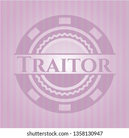 Traitor badge with pink background