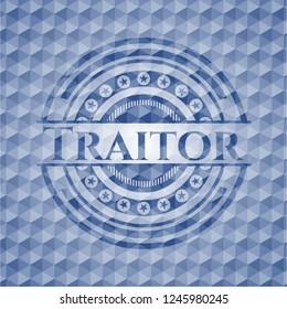 Traitor blue emblem with geometric background.