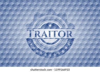 Traitor blue hexagon badge.