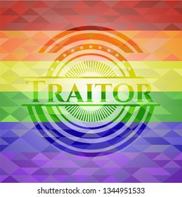 Traitor emblem on mosaic background with the colors of the LGBT flag