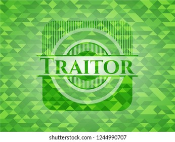 Traitor green emblem with mosaic background