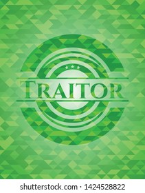 Traitor green emblem with mosaic background. Vector Illustration. Detailed.