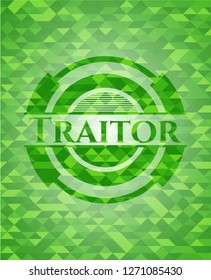 Traitor green emblem with triangle mosaic background