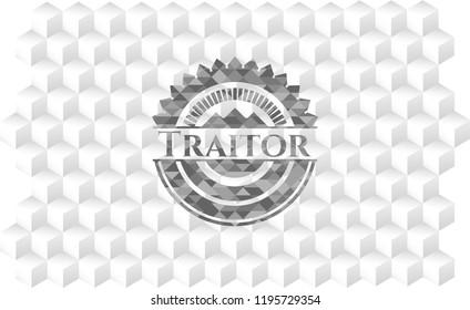 Traitor grey badge with geometric cube white background