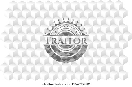 Traitor grey emblem with geometric cube white background