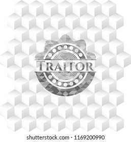 Traitor grey emblem. Vintage with geometric cube white background