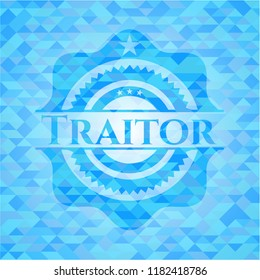 Traitor light blue emblem with triangle mosaic background