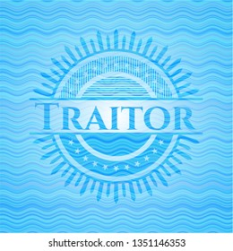 Traitor light blue water emblem background.